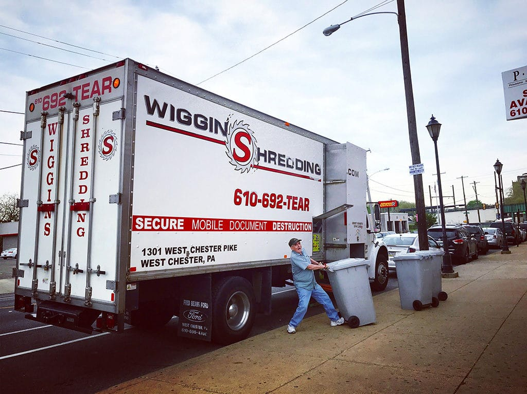 Wiggins Shredding providing an onsite shred service with their mobile shred truck