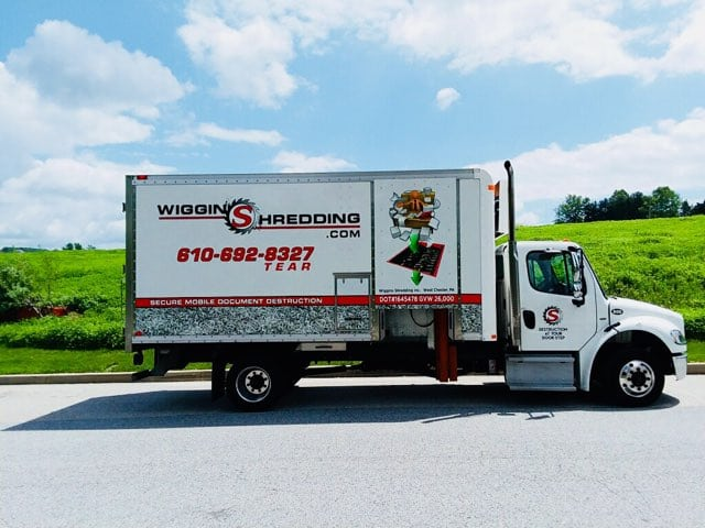 The Wiggins Shred Truck serving Philadelphia, West Chester & Wilmington DE