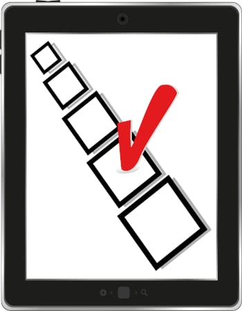 Tablet computer with check box on the screen, vector illustration