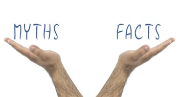Myths and facts. Balance with them. Business situation concept. Hands holding in a balance Myths and facts