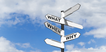 Concept image of three of the most common questions on a signpost.